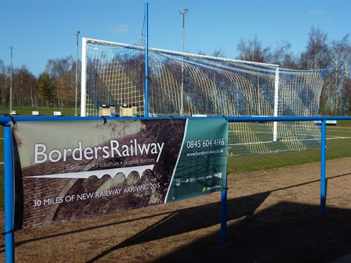 Borders Railway Banner At Newtongrange Star FC