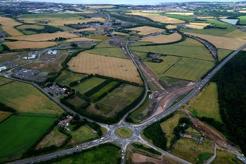In Order To Allow For The Construction Of The Borders Railway , A Temporary Dual Carriageway Has Been Constructed Adjacent To The Existing A720 Edinburgh City Bypass.