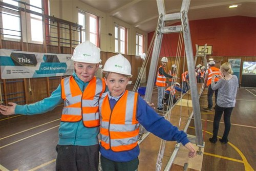 Cameron Catterall And Adam Blake From Newtongrange Primary School Take Part In Bridges To Schools